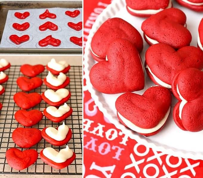 Culinary school – How to make red heart velvet whoopie pies step by step DIY tutorial instructions and recipe