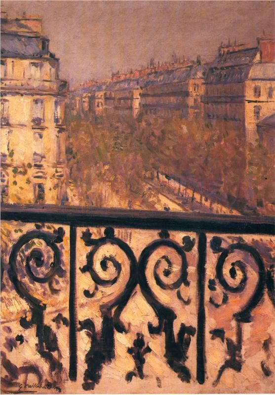 A Balcony in Paris, 1881, oil on canvas, Private Collection, Impressionism. Gustave Caillebotte (1848-1894).