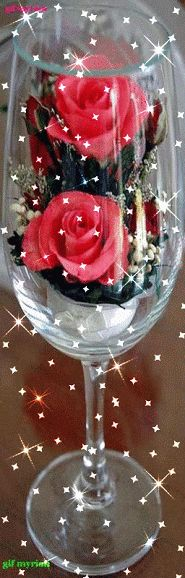 A glass of roses.