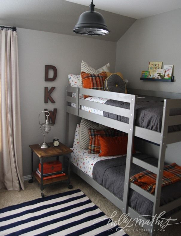awesome boy room by Holly Mathis -- navy, gray & orange