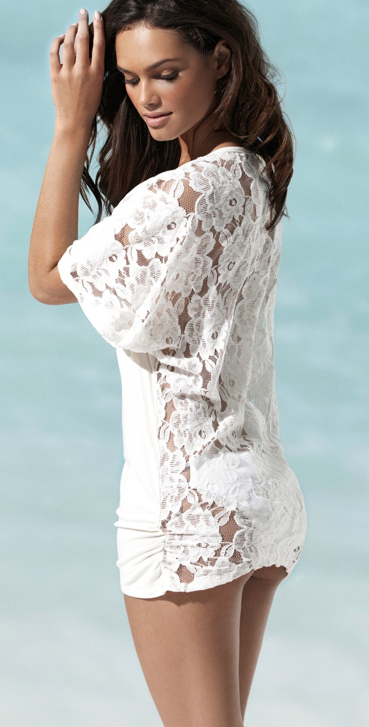 Cute beach cover up! You'll find bikinis on http://annagoesshopping.com/swimwear
