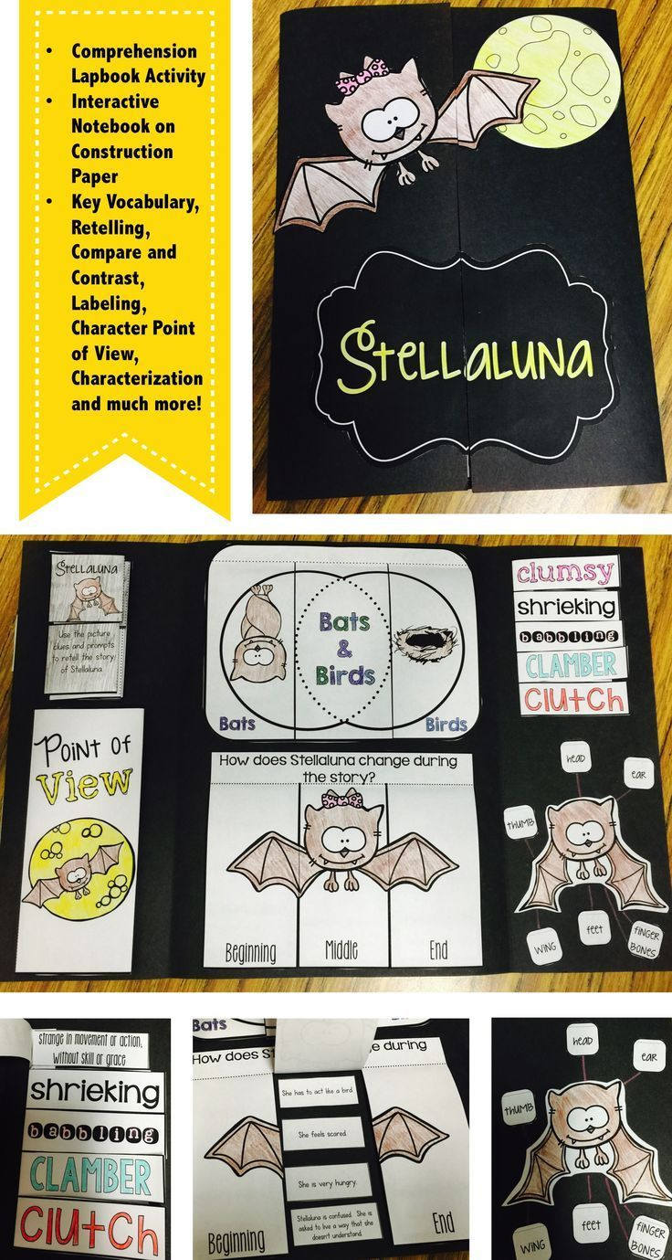 Do you read the story Stellaluna in the fall months? Does your class complete a bat until at the beginning of the year? This interactive lapbook or interactive notebook activity is just what you need to make sure that your students have mastered multiple comprehension skills and learned new words while reading the story. The lapbook includes activities that review retelling, point of view, compare and contrast, labeling, key vocabulary, and characterization.