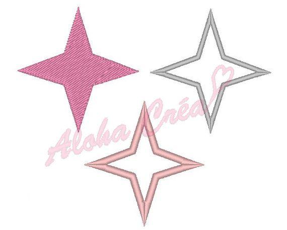 Motif broderie machine Pack étoiles 4 branches par AlohaCrea