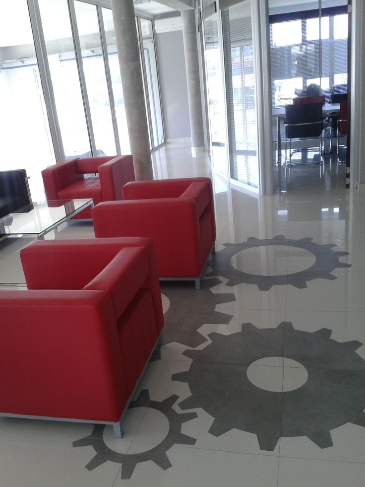 RomiDesign - cut gears of granite on the floor