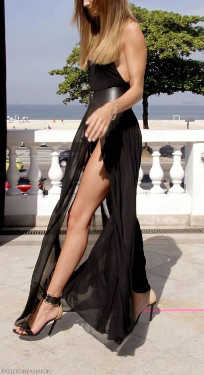 gorgeous dress with leg slit-Roise HW