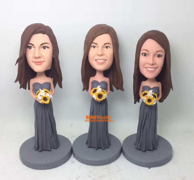 Bridesmaid bobbleheads Maid of Honor bobbleheads unique wedding bobble head bridesmaid bobble heads - BH G507B by Hellominime on Etsy