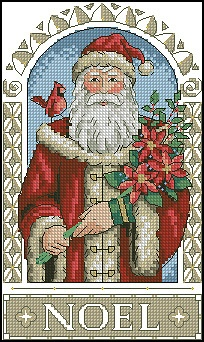 Gorgeous Santa with cardinal and poinsettias