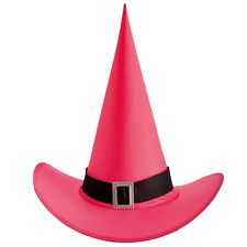FUSCHIA WITCH HAT - BRIGHT NEON PINK LADIES FANCY DRESS COSTUME HALLOWEEN
