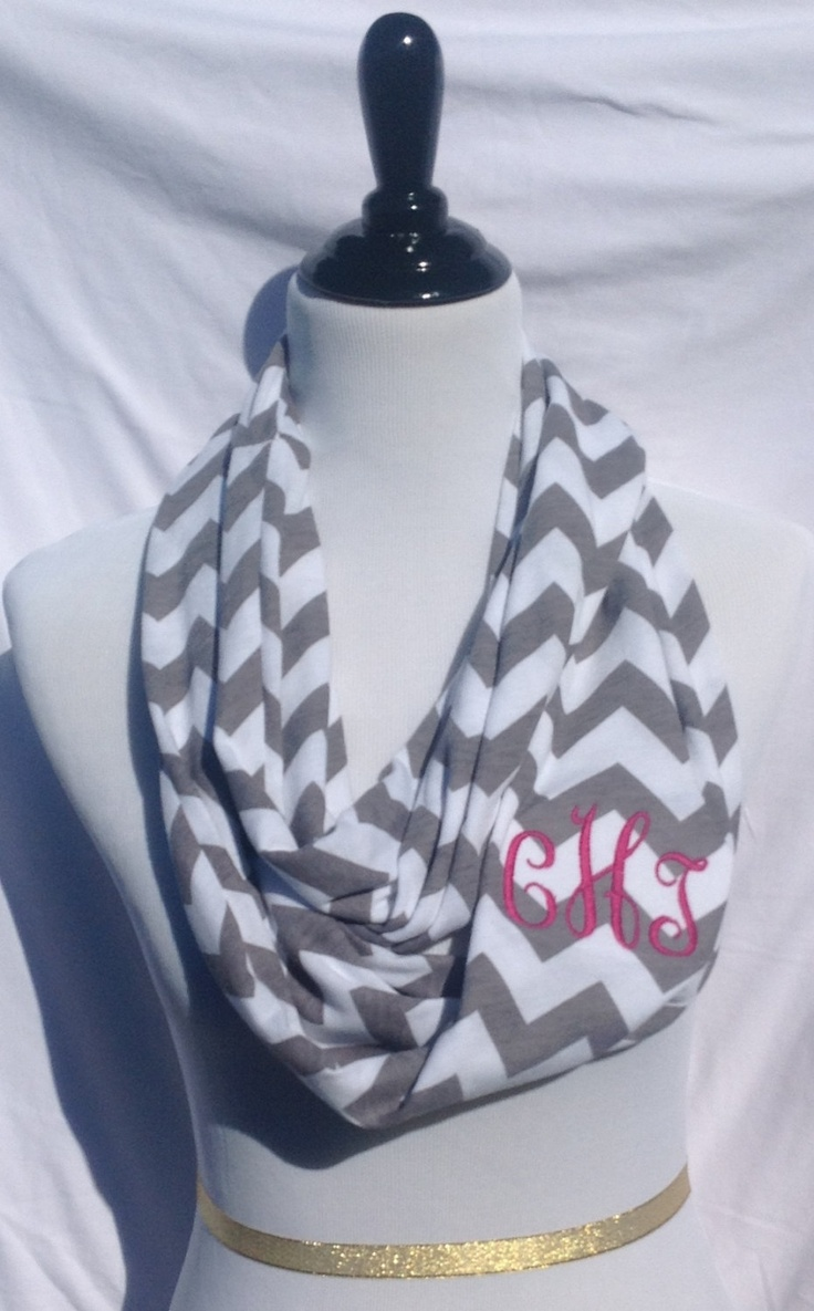Monogrammed Gray and white chevron Infinity scarf, chevron Infinity scarf, zigzag scarf, infinity scarf, monogrammed gift