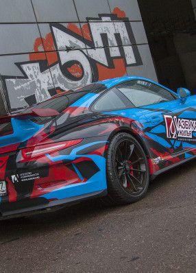 Blue Porsche branding