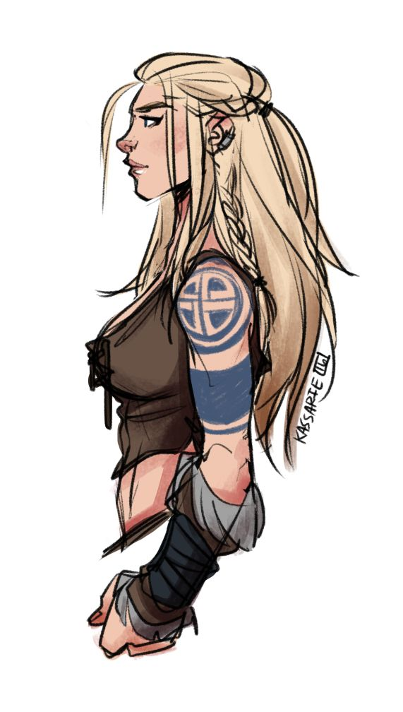 New character, Freya, a Norse woman. Been inspired to make another barbarian/norse/viking type character after playing Skyrim lately. - Kassarie Art