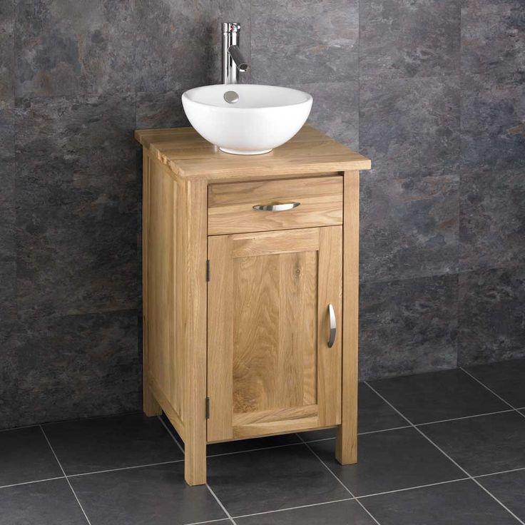 Ohio Solid Oak 45cm Single Door Narrow Freestanding Cabinet and Basin