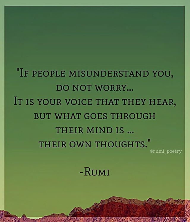 If people misunderstand you, do not worry... It is your voice that they hear, but what goes through their mind is... their own thoughts. - Rumi