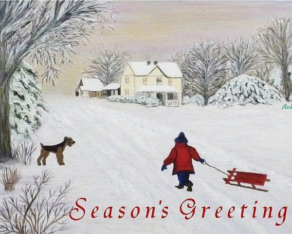 Seasons Greetings Xmas Card Anke Wheeler Winter Snow Pictures Painting Snow Snow Pictures