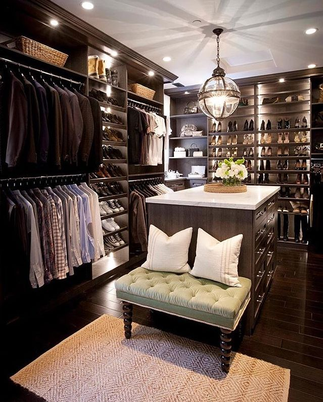 his and hers walk-in closet inspiration by Jeff Trotter Design (IG: @the_real_houses_of_ig)  LystHouse is the simple way to buy or sell your home and SAVE MONEY. Visit  http://www.LystHouse.com to maximize your ROI on your home sale.