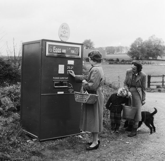 The egg-o-matic seems like a pretty great idea so long as they don't get crushed coming out the slot. | 15 Weird Vending Machines Of The '60s