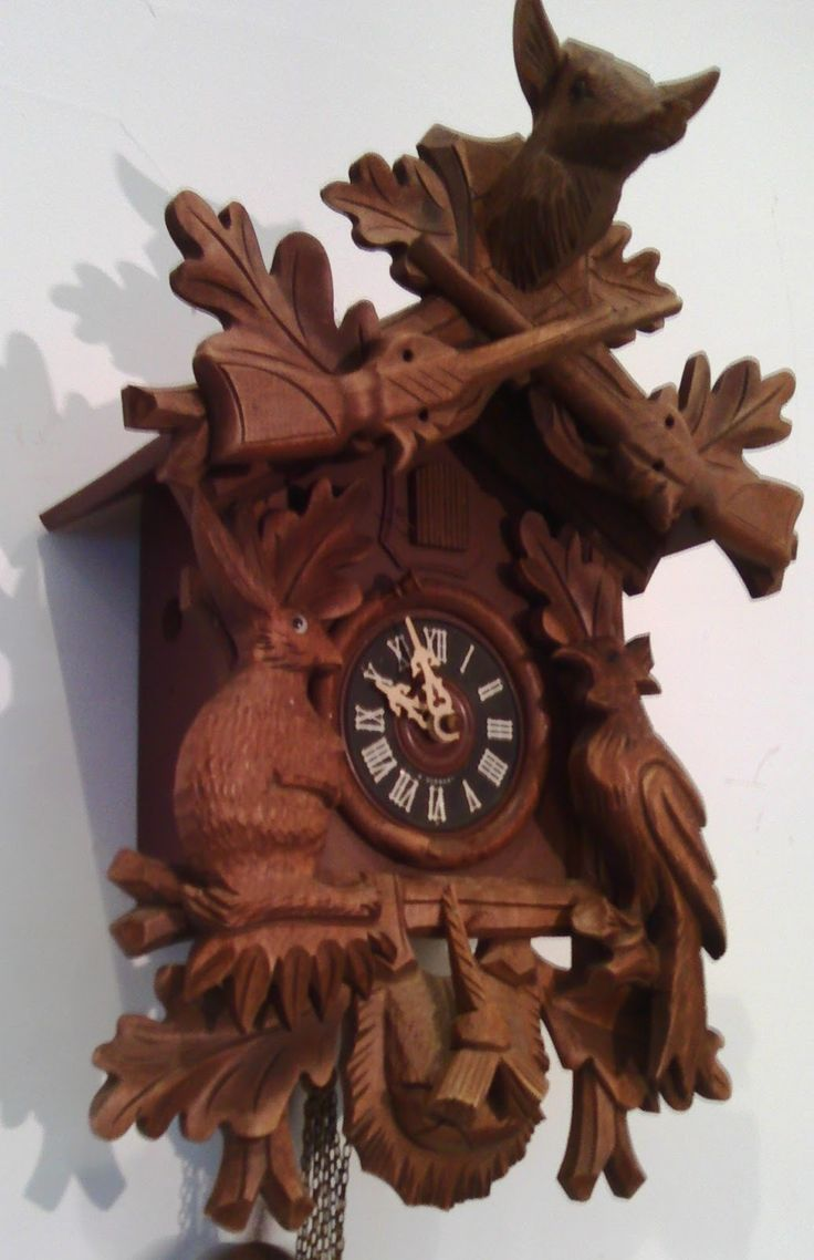 www.didoulabrocante.com: Pendule coucou ancienne forêt noire bois automate Kuckucksuhr black forest cuckoo clock