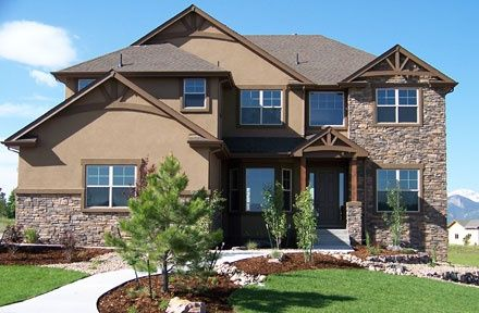 rock and stucco homes | Love stucco & rock together like darker stucco color