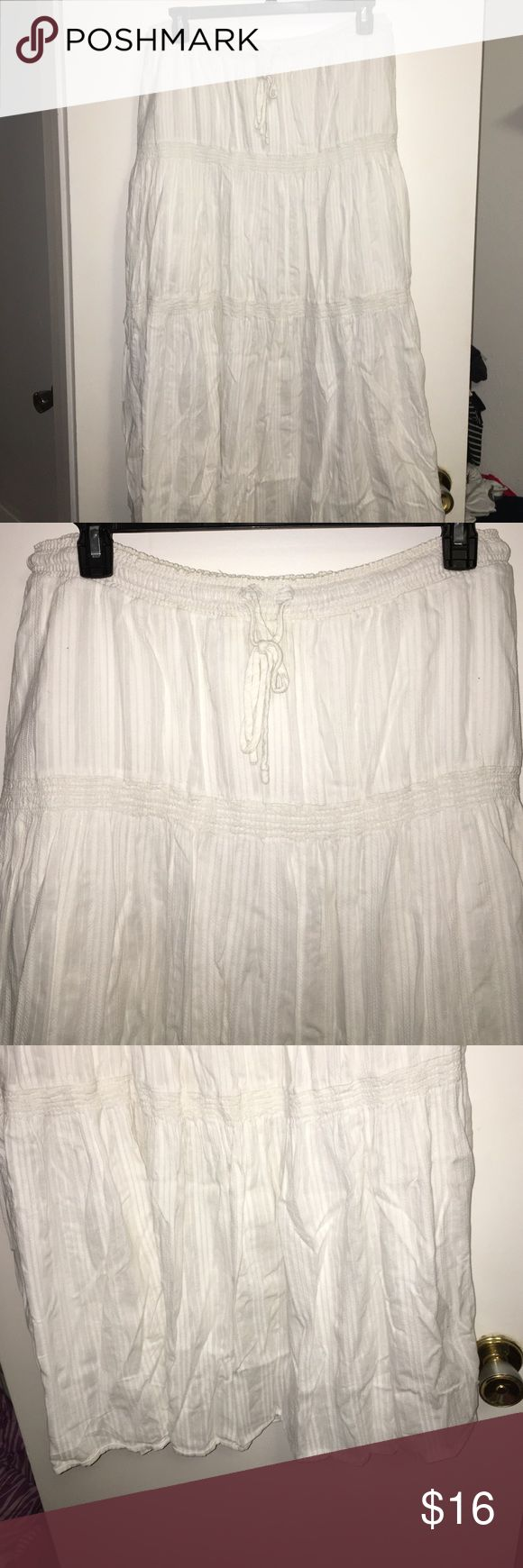 Long Skirt White, stretch waist with drawstring, lined, GAP Skirts A-Line or Full