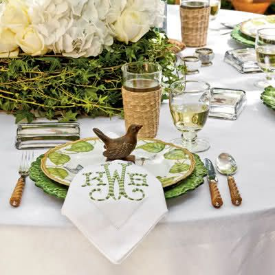 Sweet spring place setting, adore the monogrammed napkins