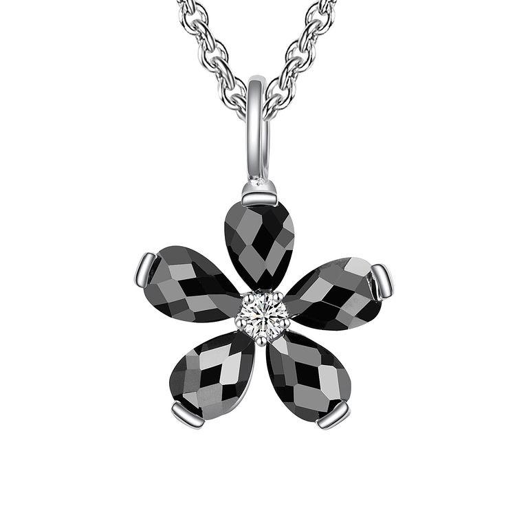 Colier și pandantiv Nahla Jewels argint floare cu zirconii negre