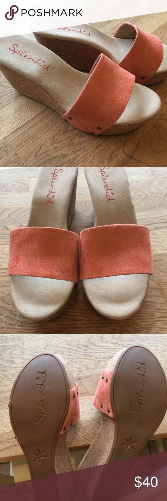 """Splendid brand """"greenville"""" cork wedge. Size 6.5 Brand new! Never worn. Don't have the box. Cute cork wedges with rivets and coral colored suede leather upper. Splendid Shoes Wedges"""