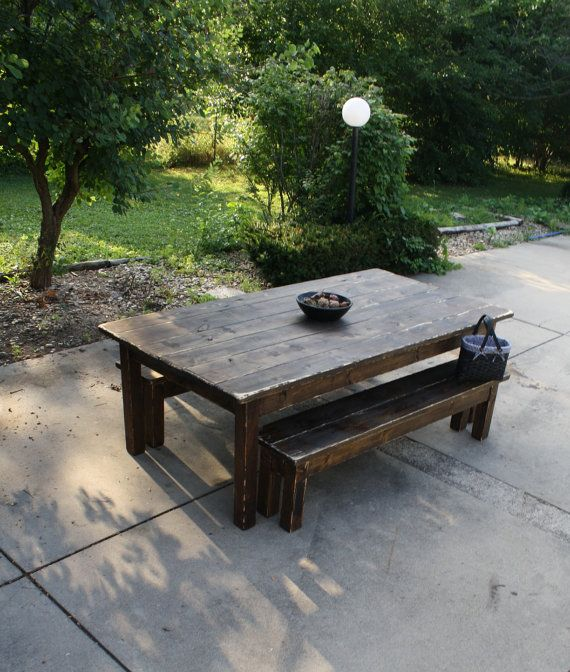 10 foot dark walnut stained distressed primitive farmhouse country cabin kitchen table wtwo matching benches custom sizes colors avail. beautiful ideas. Home Design Ideas