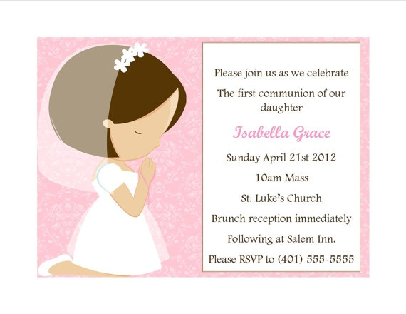 First Communion Invitation  Girl by SweetDesignsbyRegan on Etsy