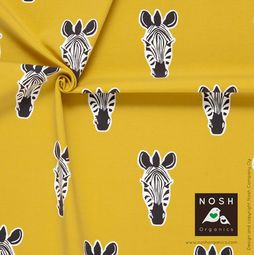 Organic cotton Jersey Zebra in Savannah Yellow/ Graphite