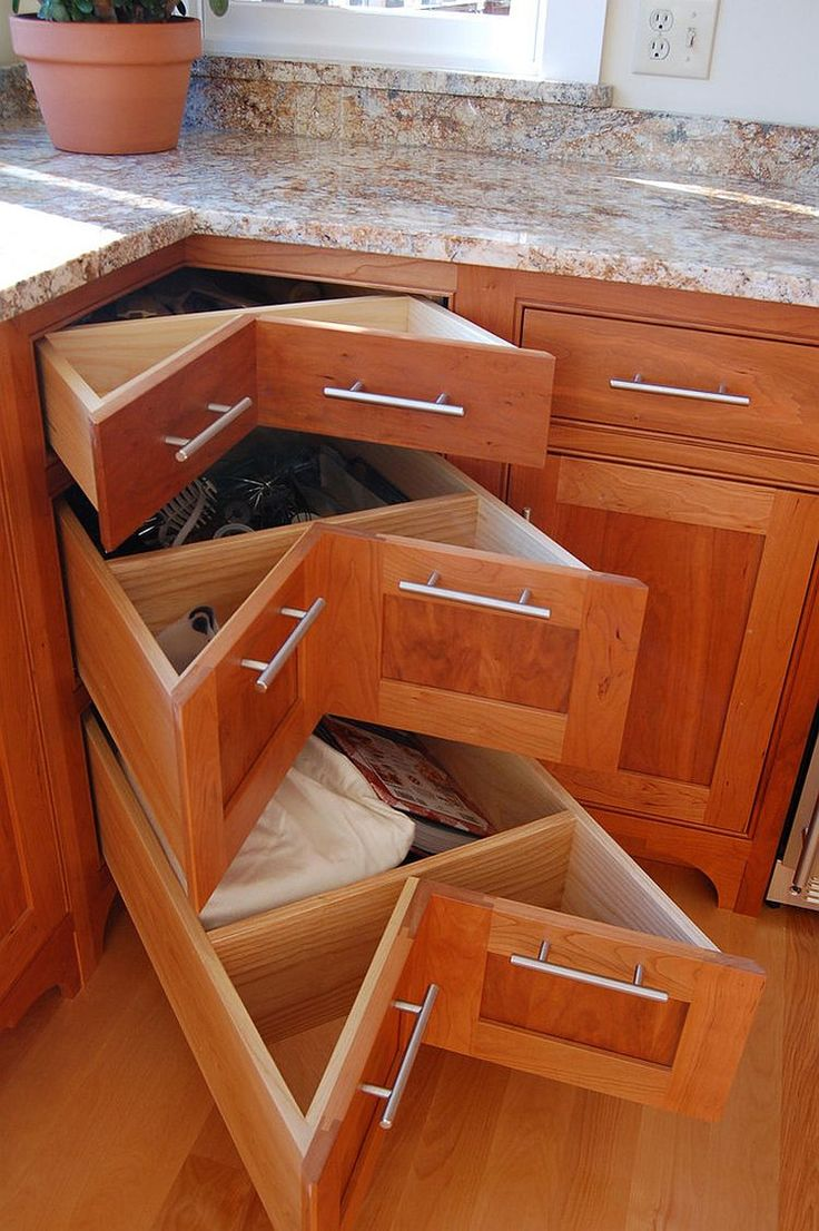 Kitchen cabinet false drawer clips - 30 Corner Drawers And Storage Solutions For The Modern Kitchen
