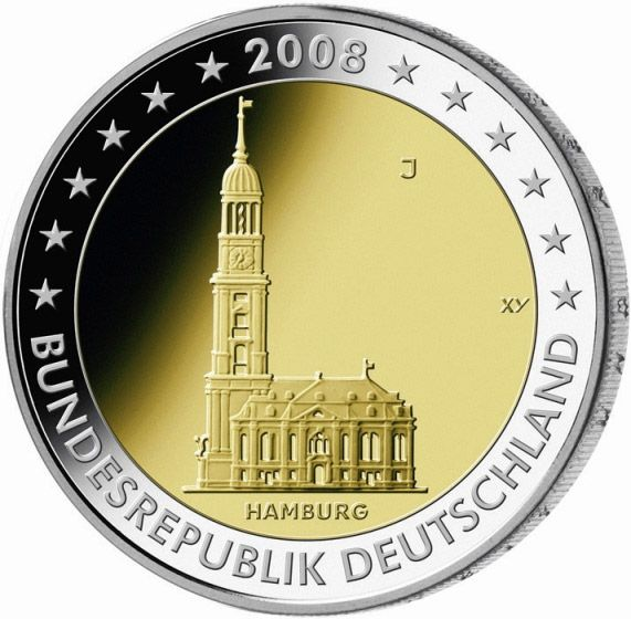N♡T.2 euro: St. Michaelis' Church (Hamburg).Country:Germany  Mintage year:2008 Issue date:February 2008 Face value:2 euro Diameter:25.75 mm Weight:8.50 g Alloy:Bimetal: CuNi, nordic gold Quality:Proof, BU, UNC Mintage:30 mil. pc
