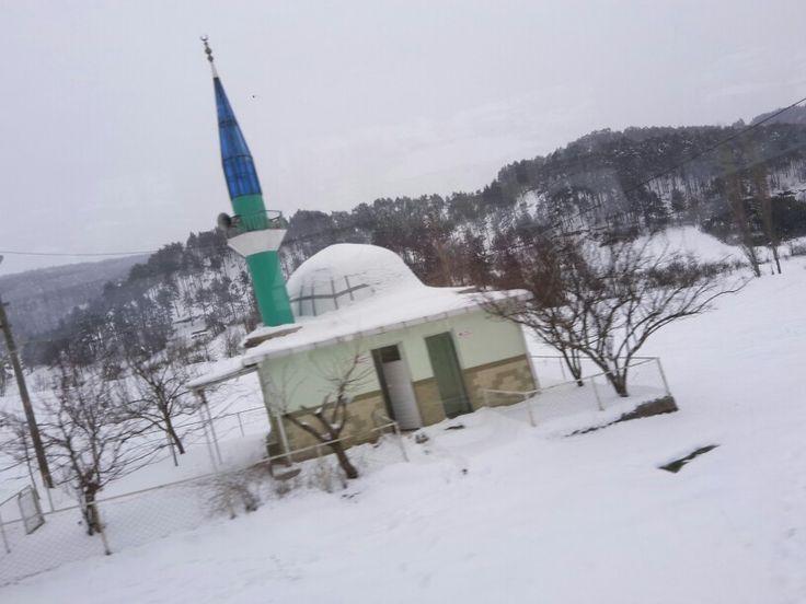 Sındırgı  yolundan karlı bir gün de bir cami