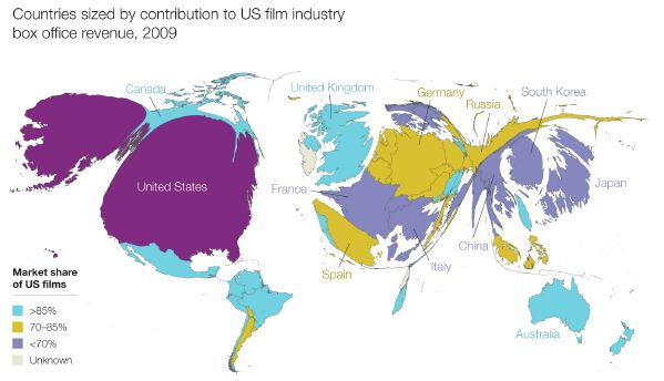 Countries sized by contribution to US film industry box office revenue ..
