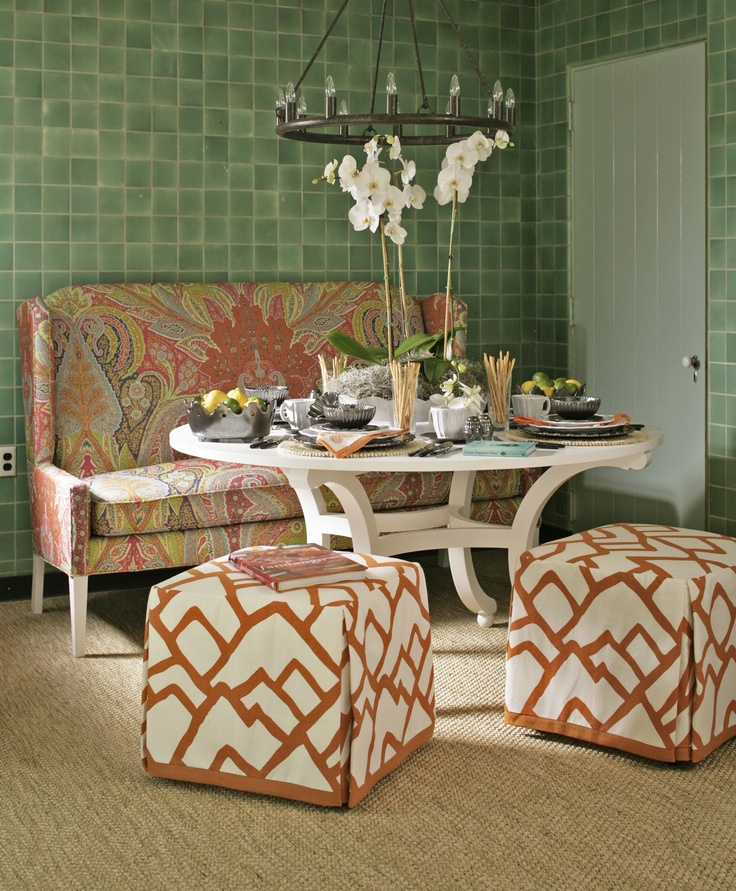 Leslie Moores Kitchen Sitting Area Features Warm Colorful Prints Against Green Tile At The 2013