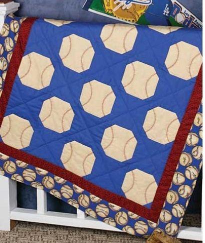 White baseballs, blue background, narrow trim polka dots, outside strips. Baseball stitching in orange.