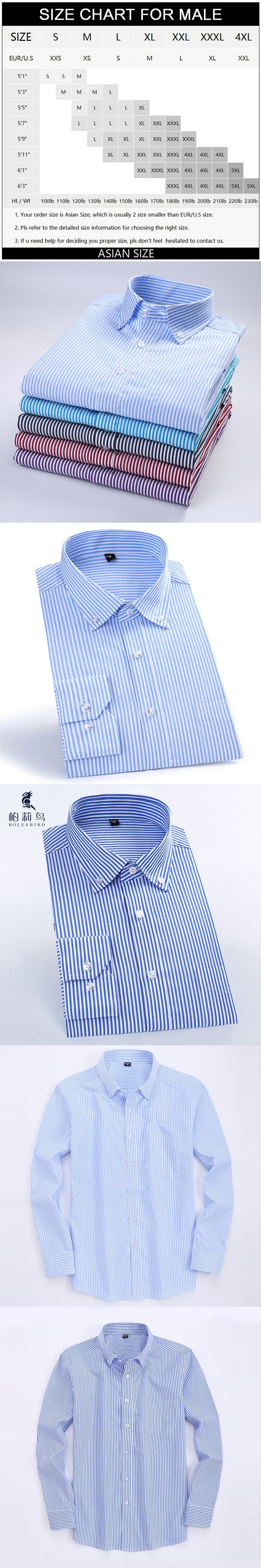 Men's Long Sleeve Blue/white Striped Dress Shirt with Pocket Comfortable Pure Cotton Smart Casual Slim-fit Button-down Shirts
