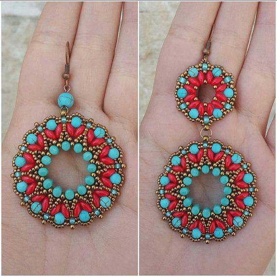 Earrings Tibet beading pattern