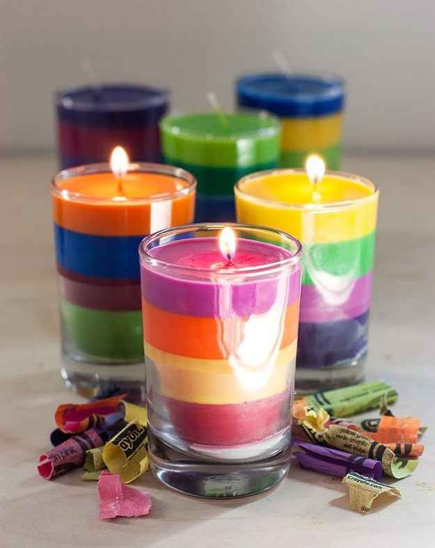 Homemade candles are another great use for broken crayons. So trying this