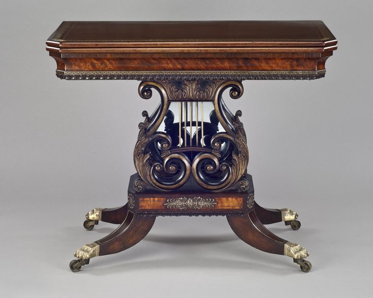 1820 Ca. Card Table. Elaborate Scroll Worked Legs.  Museumcollection.winterthur.org