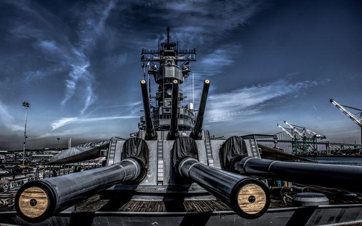 壁紙をダウンロードする USSアイオワ, BB-61, 戦艦, 米海軍, 船舶の第二次世界大戦