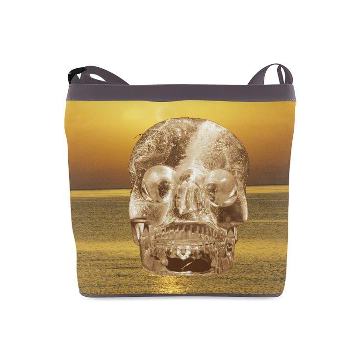 Crystal Skull Gold Crossbody Bags (Model 1613)