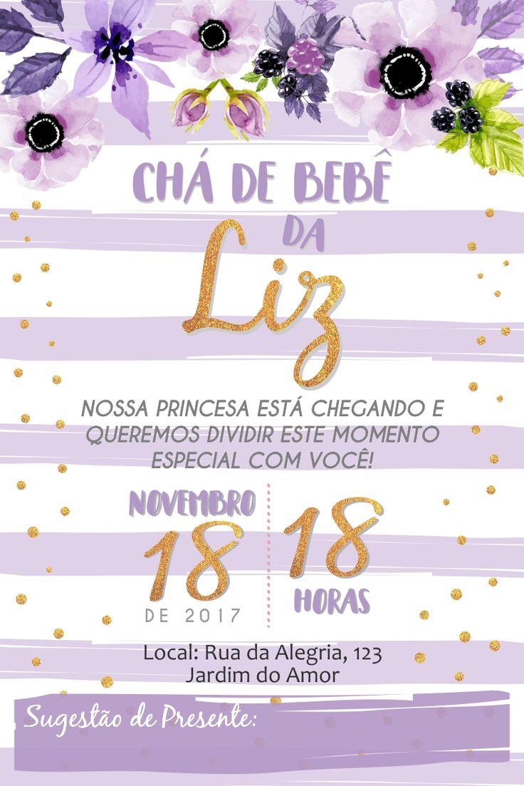 Convite Cha de Bebe Flores Lilas com Dourado Cha de Fraldas Baby