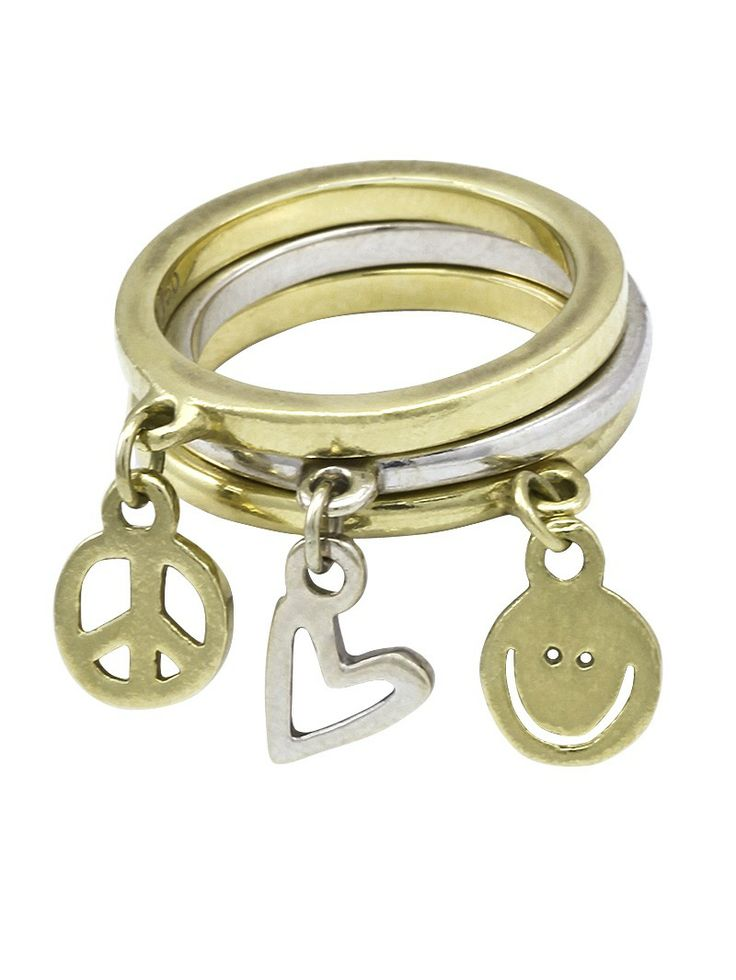 Bling Bling Peace Love World White Gold Yellow Gold Sterling Silver Ring Mix Peaceloveworld
