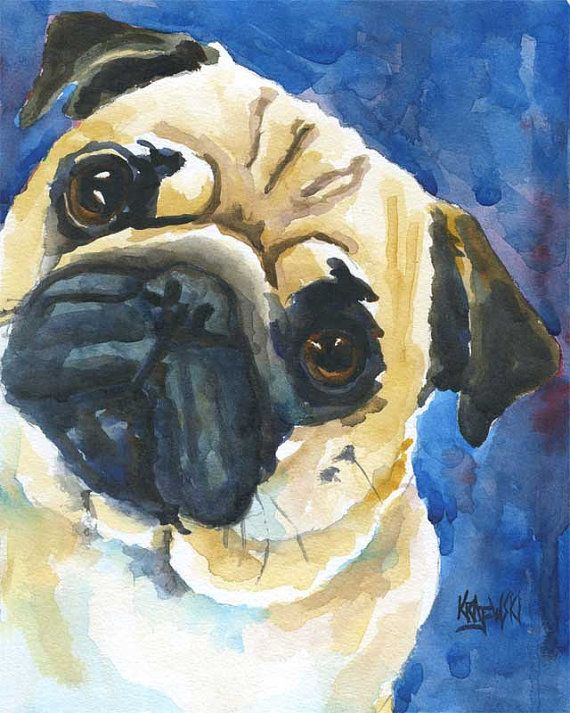 I told Nick we need this for our living room, I don't think he agreed...Pug Art Print of Original Watercolor Painting by dogartstudio