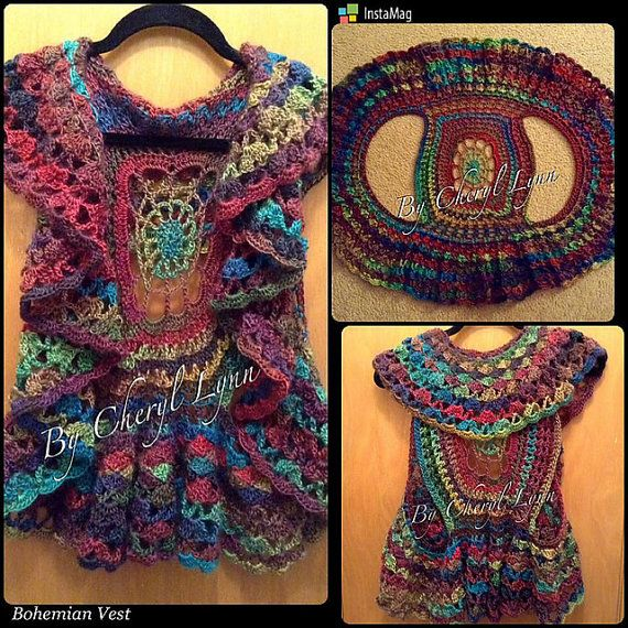 ITEM DETAILS Trendy and stylish boho chic inspired handcrafted crocheted Bohemian circular vest. The vivid, bold colors are a variagated acrylic
