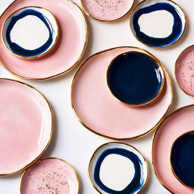 Navy and rose gold-edged ceramics by @suiteonestudio on Instagram