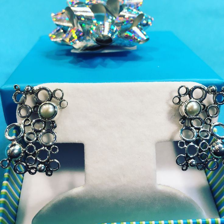 Pearl & Sterling Post Earrings $79 includes tax, 2-day US shipping & lovely gift bag & bow; for delivery before Christmas text 773-314-6492 www.cloudninesterling.com #giftsforher#sterlingsilverearrings#pearlearrings#uniquepearlearrings#uniqueearrings