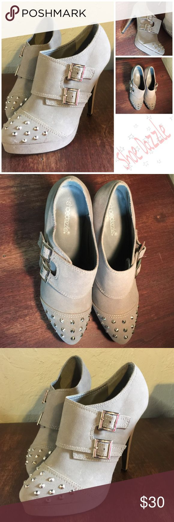 """Shoe Dazzle Stilettos, Spikes & Buckles Size 10 Gray Studded, Strapped & Stiletto make up these beautiful shoes. Size 10. Heel 5 1/2""""  Platform 1"""". Worn twice. Shoe Dazzle Shoes Ankle Boots & Booties"""