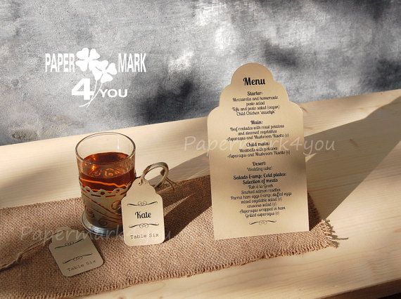 Shape Cut Rustic Menu_ Kraft Wedding Menu with by PaperMark4You