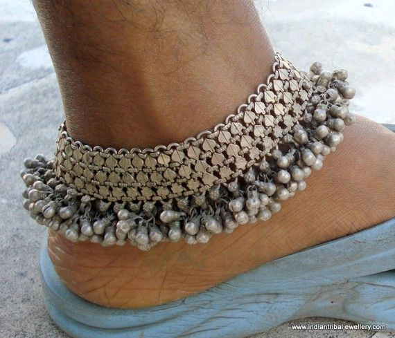 old silver CHAIN ANKLET (SANKALI OR PAIZEB)WITH A FRINGE OF SMALL SOLID BELLS (GOLI). by indiantribaljewelry